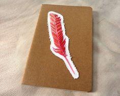 single feather moleskine notebook, kraft1
