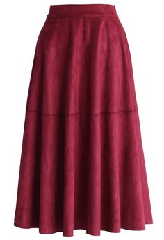 Faux Suede Midi Skirt in Berry