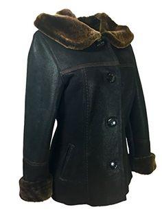 Dudex Womens Suede Sheepskin Lambskin Leather Jacket Designer Winter Fur Coat XLarge Black >>> Want additional info? Click on the image.