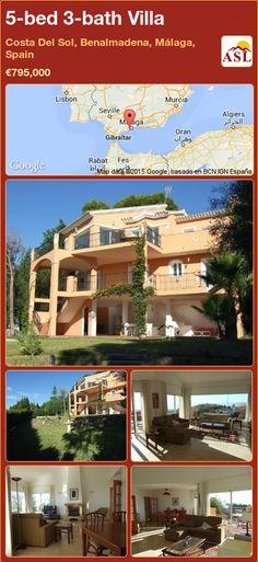 5-bed 3-bath Villa in Costa Del Sol, Benalmadena, Málaga, Spain ►€795,000 #PropertyForSaleInSpain Murcia, Benalmadena, Beautiful Villas, Nice View, Terrace, Coastal, Mansions, House Styles, Building