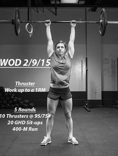 Don't practice until you get it right. Practice until you can't get it wrong.  WOD:   Thruster: Work up to 1RM   5 Rounds: 10 Thrusters @ 95/75# 20 GHD Sit-ups 400-M Run