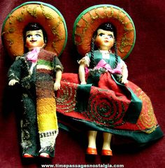 Different Colorful Old Mexican Toy Dolls