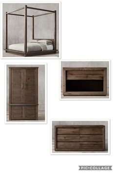 The master bedroom for a rustic home design!! Collage by me!!