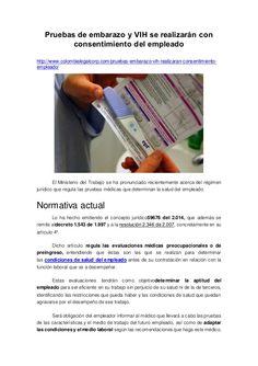 Pruebas de embarazo y VIH se realizarán con consentimiento del empleado