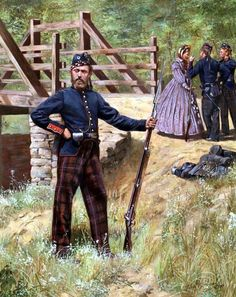 Union; 79th New York (Cameron Highlanders) 1861 by Don Troiani. Part of the regiment wore Highland trews at First Bull Run. As the 79th New York Volunteers they served until 1864 but were uniformed as standard Federal infantry.
