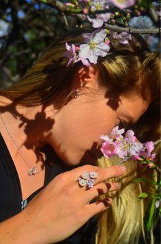 Комплект из серебра в стиле Роберто Браво Цветущий миндаль – купить в интернет-магазине на Ярмарке Мастеров с доставкой