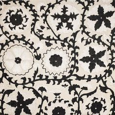 """Madeline Weinrib """"Sommers Suzani"""" in Black & White – Revitaliste Suzani Fabric, Upholstery, Snoopy, Textiles, Black And White, Knitting, Handmade, Color, Illustrations"""