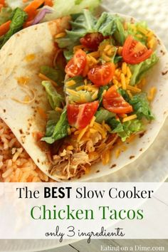 These crockpot chicken tacos taste amazing! Plus they are so easy to make! http://eatingonadime.com/best-crockpot-chicken-tacos-3-ingredients/