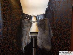 Fur tasset with engraved leather belt and large ring. Medieval, reenactment costume. by lantredurenard on Etsy https://www.etsy.com/listing/260301182/fur-tasset-with-engraved-leather-belt