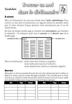Vocabulaire Recherche dans le dictionnaire