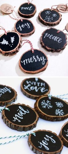 Rustic Tree Slice Ornaments. These rustic tree slice ornaments are a great addition to your Christmas ornament collection. Lovely Christmas decorations!