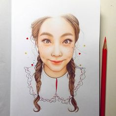 pulling on heartstrings #art #drawing #makeup #girl #pretty #cute #follow #wip #doodle #illustration #instaart #igdaily #sketch #inspiration #hair #vintage #cool #love #ohyeonseo #일상 #그림 #일러스트 #스케치 #오연서 Color Pencil Art, Fantastic Art, Insta Art, Colored Pencils, Doodles, Illustration, Photo And Video, Portrait, Drawings