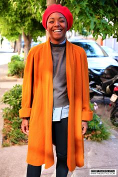 Vintage Outfit + Red Cap + Draped Coat + Fall Colors