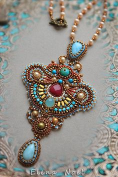 Bright necklace in Oriental style Bead Embroidered by ElenNoel