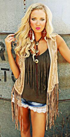 Outlaw Fringe Studded Vest - The Lace Cactus