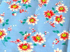 Vintage Fabric  Coral & White Daisies on Light Blue by NehiandZotz, $15.00