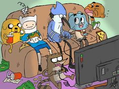 The Amazing World of Gumball, Adventure Time, and Regular Show. 3 favourite shows!