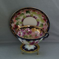Exquisite Nippon Cobalt, Gold & Floral Footed Cup & Saucer
