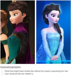 What Elsa might have looked like without her powers (assuming her hair color would be like her mother's) she looks good in the coronation pic. if disney kept the idea of her being the villain, this wouldve been a good look Disney Pixar, Walt Disney, Disney Memes, Disney And Dreamworks, Disney Animation, Disney Magic, Disney Frozen, Disney Art, Disney Films