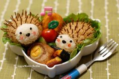 Hedgehog bento (image only - this site has a lot of other bento and lunch box ideas)