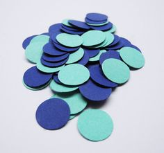 200 Acqua & Blue Circle Cardstock Confetti by MilenaSupplies, €2.40