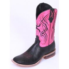 Twisted X Men's Hooey Cowboy Boots Black Shoulder with Neon Pink Tops