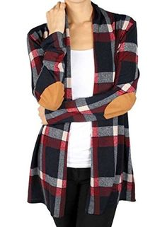 Product review for Annflat Women's Plaid Print Long Sleeve Elbow Patch Draped Open Front Cardigan Sweater.  Annflat Women's Plaid Print Long Sleeve Elbow Patch Draped Open Front Cardigan Sweater this classic plaid print just became more amazing with this soft and comfy cardigan. The suede elbow patch is just the perfect touch to complete this cardigan. Pair with your favorite skinnies and boots...