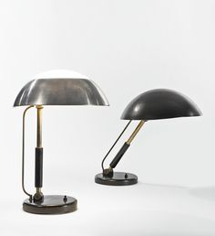 Karl Trabert; Wood, Aluminum, Glass, Chromed and Enameled Metal Table Lamps, c1934.