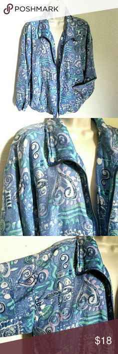 """🌻90s SILK Wind Breaker Jacket I wore this one on the sunny beach days on the windy Oregon coast! Fun blue, aqua, and white print. Lightweight, soft, 100% silk shell with lightweight 100% polyester lining.  Elastic waist and cuffs, and zipper closure. In very good condition, lining seams are tight/no wear...NO issues. EVR, div of Ruosso Apparel Group, size XL. 26"""" pit to pit, 20"""" across waist + stretch, 26"""" length from nape of neck. Vintage Jackets & Coats"""