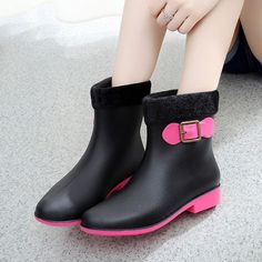 Warm PVC Bowknot Slip On Ankle Flat Waterproof Rainy Martin Boots - Gchoic.com #shoes #fashion #boots #popular #discount #cheap #under20 #warm #winter