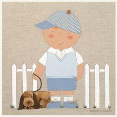 """CUADRO NIÑO CON PERRITO """"NOVEDAD"""". Cuadro tipo lienzo con imagen de niño con perrito. El Lienzo en Lino niño es una propuesta ideal para decorar la habitación de los más pequeños consiguiendo un aire romántico y un toque de ternura."""
