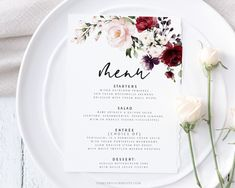 Wedding Menu Card Template Wedding Table Decor Burgundy and   Etsy