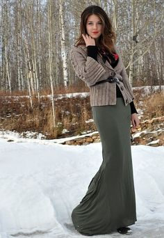 Great way to wear a maxi skirt in the winter