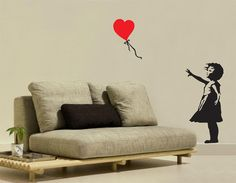 Banksy heart floating balloon girl Wall Decal by decorationwall, $35.00