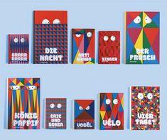 L'idée de cette collection créée en collaboration avec Elise de Terlikowski était de transformer les livres en personnages. Nous avons d'abord dessiné des yeux, en découpe, afin de jouer avec la page au dessous, ainsi c'est bien le livre et non juste la couverture qui est animé. Puis par un système de grilles géométriques et de couleurs limités nous avons créé une déclinaison de faces pour illustrer les titres de ceux-ci…