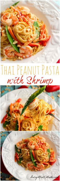 Angel Hair Pasta is tossed with fresh veggies, tender shrimp, a Thai peanut sauce, and topped with crunchy peanuts to make the perfect one-pot meal!