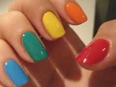 Hottest and easy Multicolor Simple Nail Art – Fashion Want to learn more for bachelorette nails NU 92 Toasted Marshmallow Dream Nails, Love Nails, How To Do Nails, Pretty Nails, Bright Nails, Funky Nails, Simple Nail Art Designs, Acrylic Nail Designs, Gel Nails