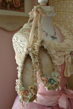 Vintage Lace and Ruffles Sweet Ballet Slippers by treasured2, $34.00