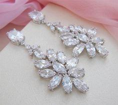 Rhinestone Wedding Earrings Bridal Earrings Wedding Jewelry Bridal Jewellery Crystal Earrings Glamorous Wedding Earrings
