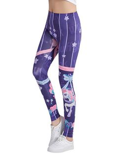 6beddcd0d6ced Pony Dragonfly Stars Printed High Waist Women Stretch Leggings - OneBling  Unicorn Leggings, Women's Leggings