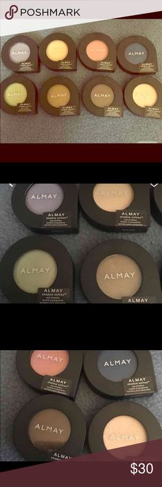 ❌SOLD ❌.  Almay eyeshadow softies (8) Brand new never opened. Colors are: (going across top row then bottom).  lilac, cashmere, petal, midnight, honeydew, moss, hot fudge, crime brûlée.  Full size. Almay Makeup Eyeshadow