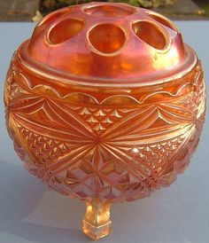A Art Deco Marigold Carnival Glass Flower Bowl - Made in England by Sowerby Flower Bowl, Flower Frog, Antique Glassware, Vaseline Glass, Vintage Carnival, 1920s Art Deco, Murano, Fenton Glass, Wedding Art