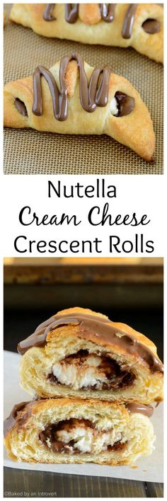 These Nutella cream cheese crescent rolls could not be easier. Filled with rich Nutella and chunks of cream cheese, topped with more Nutella, and only take 20 minutes to make! @introvertbaker