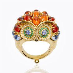 Item 18K Owl Ring with mandarin garnet, Royal Blue Moonstone, emerald, blue sapphire and diamond