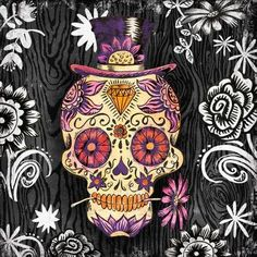 Portfolio Canvas Decor Sugar Skull Daisy by Geoff Allen 2 Piece Graphic Art on Wrapped Canvas Set