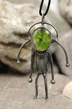 Alien necklace Paranormal jewelry Ufo gifts Robot pendant I want to believe Gift for scientist Space creature Spaceman Steampunk jewellery Dieselpunk pendant Cyberpunk necklace