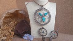 Ciondolo acchiappasogni - Dreamcatcher wire in alluminio color bronzo handemade free nichel con pietre turchesi e orecchini