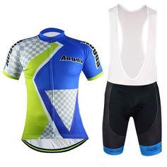 Men's Blue Short Sleeve Cycling Jersey Set #Cycling #CyclingGear #CyclingJersey #CyclingJerseySet