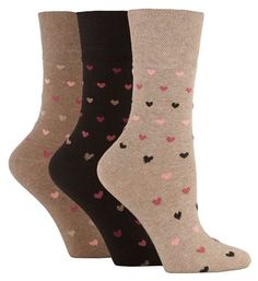 3 Pairs of Ladies Sock Shop Gentle Grip Patterned Socks, Various Designs/Colours, Ladies UK Size 4-8 (Classic Rose): Amazon.co.uk: Clothing