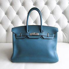 Hermès Birkin 35 in Blue de Galice @poshbagboutique